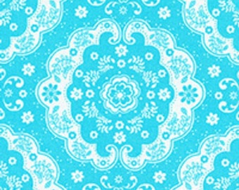 Aqua Turquoise and White Floral Lace Medallion 31272 70 Fabric by Lecien Flower Sugar