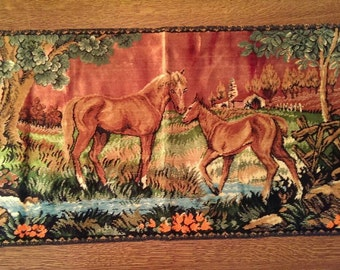 Vintage Italian Horse & Colt Tapestry Rug or Wall Hanging