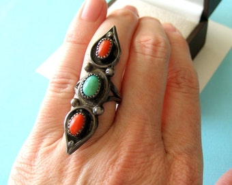 Navajo Turquoise and Red Coral Sterling Ring Size 5.5