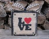 LOVE Wood Block - Red Heart - Distressed Wood Block - Stenciled Sign -  Chevron Ribbon - Valentine