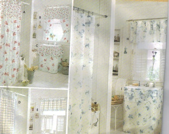 Bathroom Accessories Sewing Pattern. Curtains, Shower Curtain, Sink Skirt,  Window Valances.