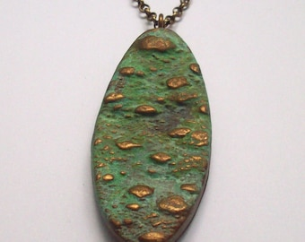 Pendant Necklace Polymer Clay, Patina and Brass, Organic Textures