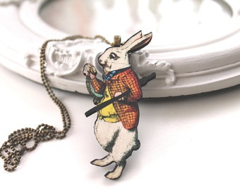 Alice in Wonderland necklace White Rabbit wooden pendant kawaii victorian egl lolita