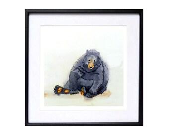 Brown Bear Art PRINT - Watercolor artwork / Colorfield black brown bear watercolor painting / nature print / Fine Art Print / Animal art