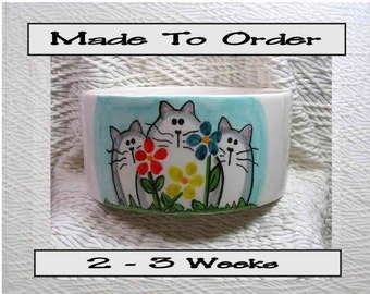 Cats & Flowers Medium Ceramic Pet Bowl With Paw Prints Inside Handmade by Grace M Smith