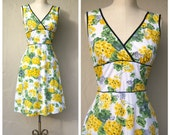 Bright yellow floral dress / sleeveless spring dress / a-line day dress / Easter picnic garden party / small xsmall