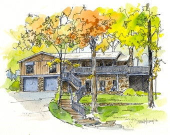 House Painting-Custom Pen Ink Watercolor Wash Home/House Portrait-FREE SHIPPING