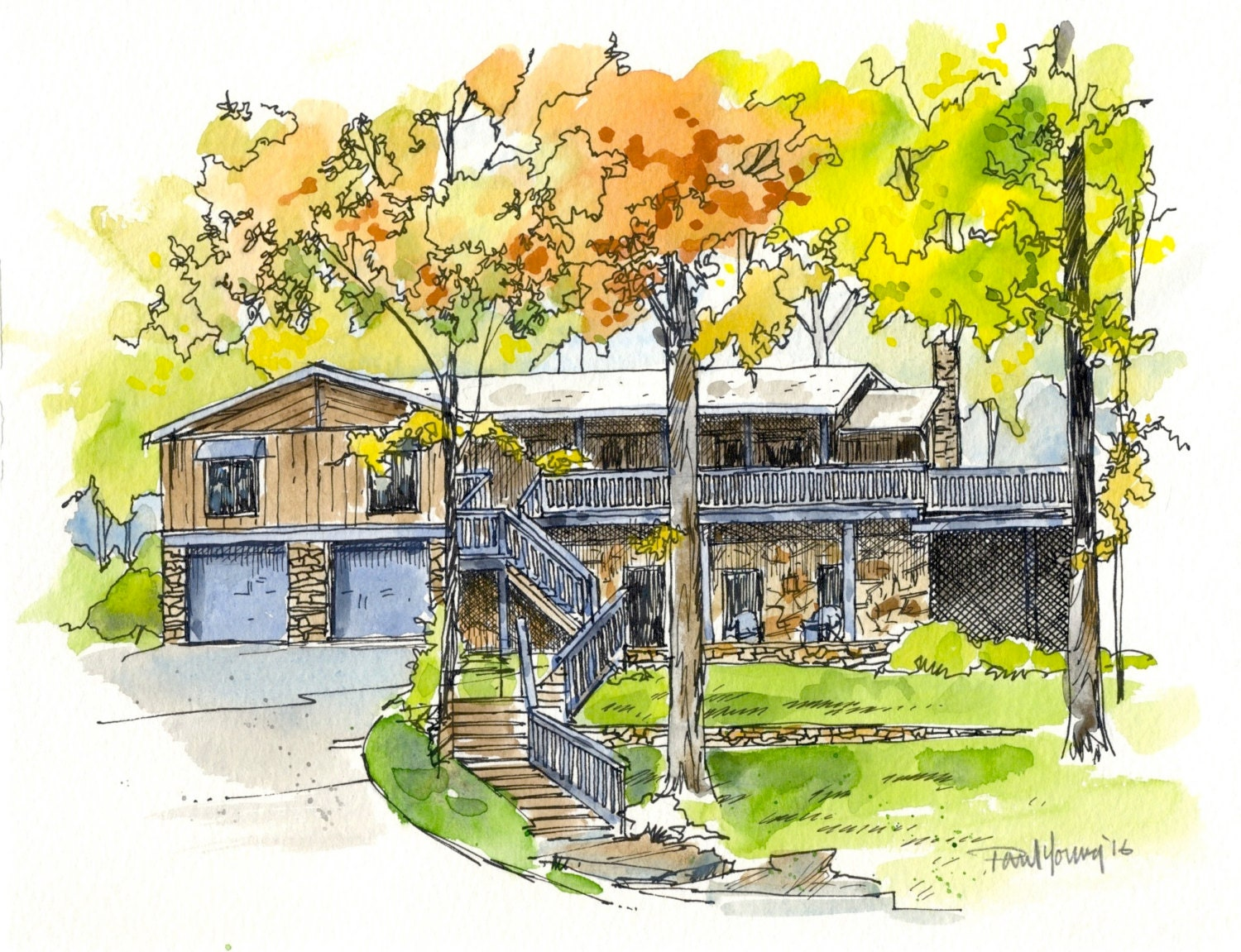 house painting custom pen ink watercolor wash home house zoom