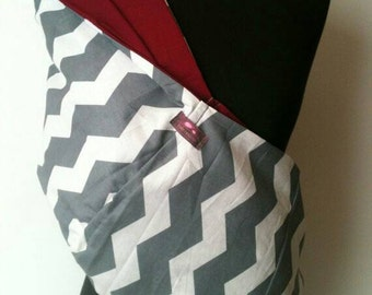 Baby Sling Carrier Gray Chevron Burgundy Lining