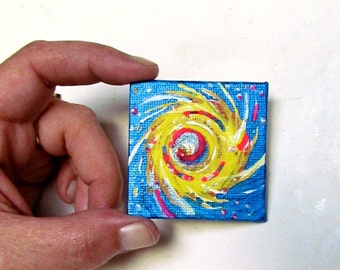 Fireball In Blue acrylic painting on canvas panel