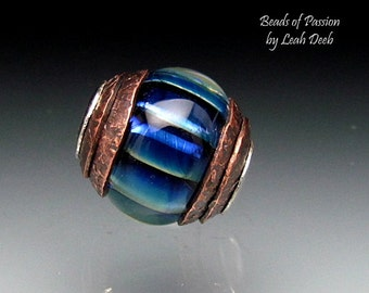 Artisan Glass BHB Bead Focal Lampwork SRA - Sky Blue Pleated Double Copper Capped