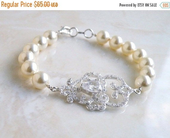 Clearance SALE Bridal Bracelet CZ Rhinestone Swarovski Ivory Pearl SB2