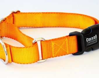 "Dog Collar - ""Sunburst"" ( Yellow and Orange hand dyed ) Martingale & Buckle 5/8"" - 2"" Width"