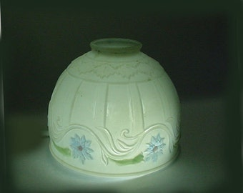 Antique Lamp Shade - Satin with Blue Flowers - Nice Condition