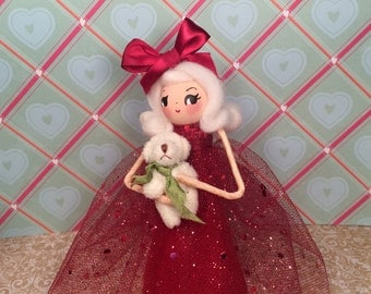 Christmas doll christmas decor centerpiece art doll tree topper red and green blond doll teddy bear toni kelly original