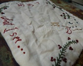 Hand Stitched Snowman Candle Mat, Winter, Sheep, Christmas Tree