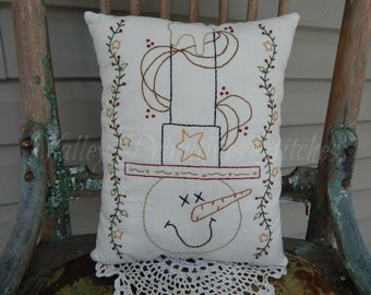 Decorative Winter Christmas Pillow, Sam the Snowman, Hand Stitched Pillow, Snowman,Top Hat