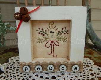 Decorative Winter Framed Stitchery, Angel, Peace, Hand Stitched, Rusty Bells, Burlap Ribbon
