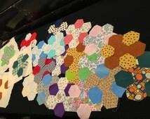 Set of 21 Vintage Machine Stitched Hexagon Flower Pattern Quilt Blocks