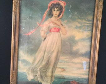 Vintage Pinkie Picture in Wood Frame