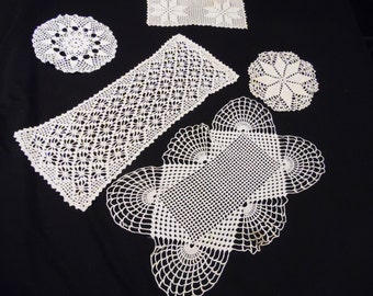 Lot of 5 Vintage Ecru or Off White Hand Crochet Doilies