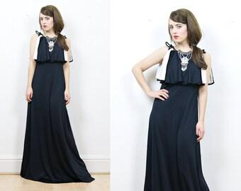 70s black maxi dress, boho maxi dress, black and white dress,70s glamour, evening dress, 70s party dress, black maxi dress, boho dress