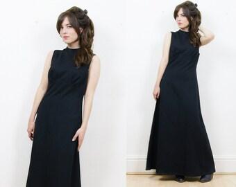 70s boho maxi dress, black maxi dress, 70s maxi dress, goth black dress, party dress, evening dress, 70s dress, boho dress