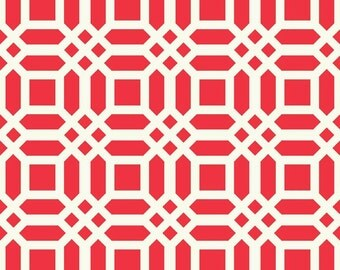 1 yard Vivid Lattice RED Home Dec Fabric from Patty Young Home Decor duck cloth