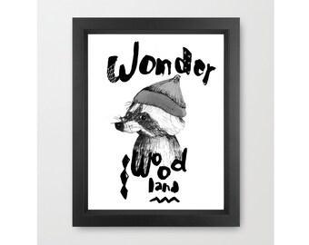 Children's Wall Art, Raccoon Little Dada Collection, PRINT 11.69 x 16.54 inches (A3)