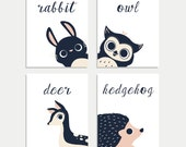 Peeking Animals in English, Collection of Four 8x10, Children's Wall Art Prints, Nursery Wall Art, Woodland Animal, Gender Neutral Nursery