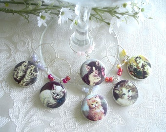Cute Kittens Wine & Drink Glass Charms - Set of 6