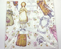 Vintage 1970s Holly Hobbie Paper Doll Wrapping Paper or Gift Wrap and Tag by American Greetings Unopened