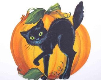 Vintage 1960s Pumpkin and Black Cat Halloween Die Cut Decoration by Hallmark