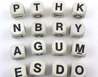 Vintage Boggle Alphabet Letter Blocks Game Pieces Set of 16