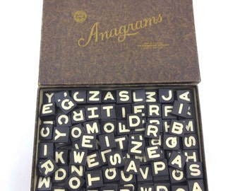 Vintage Embossed Black and Ivory Wooden Anagram Letters or Alphabet Tiles in Original Box Lot of 150