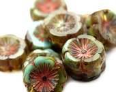 20% Shop Closing Czech Glass Bead Flower Chunky Hibiscus 15mm Sky Blue Amber Picasso (4) CZP845