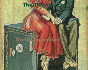 Valentines Day Sale Vintage 1900's Digital Postcard, A Safe Investment, Lovers, Romance, Valentines Day, Sweet Hearts, Bank Safe, Vault