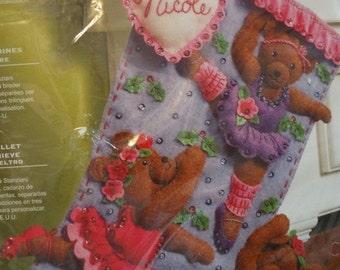 On Sale Bucilla Ballerina Christmas Stocking Pattern, Ballet Bears Felt Stocking, Monogrammed, Christmas Fireplace Stocking