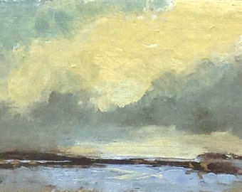MINI 1609, 0il painting original landscape, miniature art, 100% charity donation, oil painting on cardboard