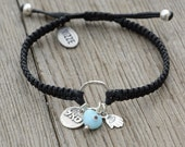 Prosperity Bracelet with Sterling Silver Kabbalah Charm, Hamsa Hand and Heart Evil Eye