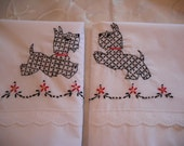 Scottie Dog Hand Embroidered Pillowcases - Standard Size- set of 2