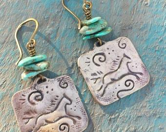 Bronze Earrings - Horse Earrings -  Genuine Turquoise Earrings - Rustic - Petroglyph - Southwestern - Western Cowgirl Jewelry