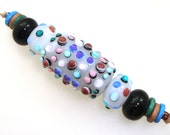 Handmade Lampwork Bead Focal - Shanghai! 5 bead set. Warring States Dynasty style focal bead. Traditional dot pattern on white opaline.