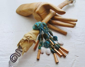 SPIRIT OF COYOTE magic Crystal Wand Rattle, Inclusion Quartz, Turquoise, Coyote bone, Spiral, Shaman shamanic tool, talisman wicca pagan