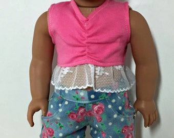 SALE 18  inch Doll Clothes  Blue Floral Denim Shorts Set