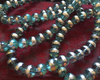 Vintage Glass Beads (16)(10mm) Light Aqua Silver Banded Glass Beads