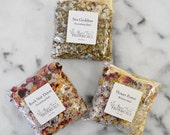 Organic Bath Salt Sampler Set - 3 Unique Herbal and Essential Oil Scents: Flower Power, Rock Star Detox, and Sea Goddess