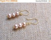 ON SALE Pink Pearl Earrings, Pink Cultured Pearl Earrings, Vintage Cultured Pearl Earrings