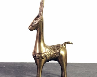 Vintage Brass Donkey Statue, Mule or Llama Bohemian Decor, Rustic Style Figurine