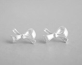 Bowknot 925 Silvery Stud Earring Post Finding (ET041)